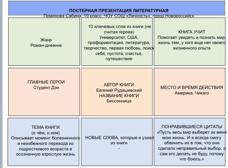 Проект по книге Евгений Рудашевский «Бессонница»